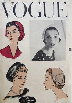 1950s JOHN FREDERICS UNIQUE HAT PATTERN CLASSY DESIGN VOGUE 9092