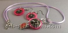Button Rose Necklace Set by abcollage for $25.00