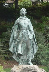 Pilgrim Maiden statue Plymouth Path. About the age Elizabeth Tilley was when she arrived in Plymouth
