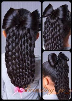 Such Beautiful braids for hair! I wonder if you could do this on fine hair with enough hairspray. Lil Girl Hairstyles, Pretty Hairstyles, Braided Hairstyles, Children's Hairstyle, Braids For Kids, Girls Braids, Beautiful Braids, Gorgeous Hair, Baby Girl Hair