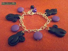 #Halloween #bracelet with #cats - Braccialetto con gatti neri