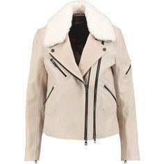 Rag & bone - Minerva Shearling-trimmed Textured-leather Biker Jacket ($763) ❤ liked on Polyvore featuring outerwear, jackets, stone, asymmetrical zipper jacket, slim motorcycle jacket, pink jacket, moto jacket and zipper jacket