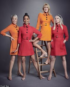 Karin Jensen, Hazel Collins, Clare Hunt and Jill Kennington, (pictured left to rig. Sixties Fashion, Mod Fashion, Vintage Fashion, Club Fashion, Mary Quant Dress, 1960s Dresses, Fashion Poses, Mod Dress, Vintage Outfits