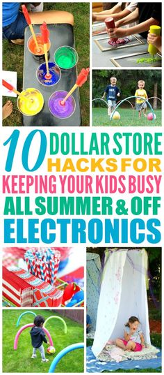 These 10 Dollar Store Hacks to Keep Your Kids Busy All Summer are THE BEST! I'm so happy I found these GREAT tips! Now I have some great ways to keep my kids off the computer and having fun this summer! Definitely pinning!