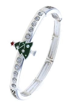 CRYSTAL ACCENT CHRISTMAS TREE BRACELET
