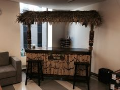 The Islander with a roof is the is great for any occasion! Use this tiki bar outside by the pool or as an inside bar for a tropical feel. Tikki Bar, Outdoor Tiki Bar, Patio Lounge Furniture, Inside Bar, Tiki Bar Decor, Barrel Bar, Home Pub, Bar Shelves, Backyard Bar