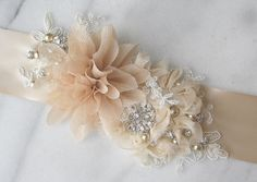 Champagne Bridal Sash Beige Wedding Belt Rustic by TheRedMagnolia, $136.00