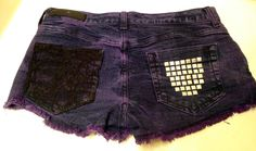 DIY  Purple ty-dye  Lace and studded  Shorts  No sew lace, all you need is lace and glue:)