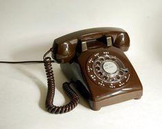 Vintage Telephone 1970s Chocolate Brown ITT Telephone Rotary Dial