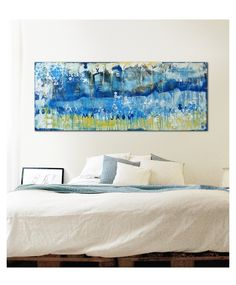 Landscape blue on blue 148, Acrylic painting by Ronald Hunter | Artfinder