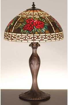 Roses & Scroll Tiffany Stained Glass Table Lamp