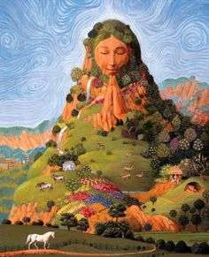 Mother earth, Gaia - present throughout - particularly in the image of Glastonbury Tor, which was also the setting for Blake's Jerusalem - based on a concept of 'heaven' Jesus visited in his 'lost years'. Divine Mother, Mother Goddess, Goddess Art, Earth Goddess, Goddess Pagan, Sacred Feminine, Gods And Goddesses, Deities, Mother Earth