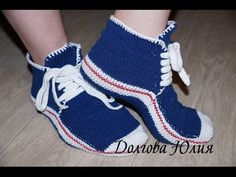 Домашние КЕДЫ для взрослых спицами  Knitting. Slippers or socks and SHOES for adults - YouTube