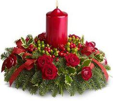 Decoração de Natal: arranjo floral com vela vermelha | Eu Decoro