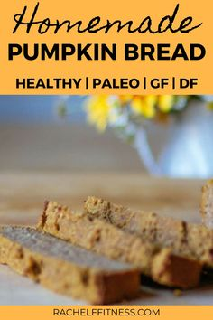 This healthy and delicious Pumpkin Bread recipe is the perfect fall recipe. There are no grains and no butter - this paleo recipe is gluten-free and dairy-free! Healthy Pumpkin Bread, Baked Pumpkin, Healthy Dessert Recipes, Healthy Snacks, Breakfast Recipes, Vegetarian Recipes, Sans Gluten, Coconut Flour, Fall Recipes