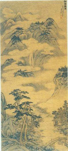 Song Xu(宋旭) , 松壑云泉图-山东省博物馆藏 . 《松壑云泉图》轴:现藏于山东省博物馆,纵141厘米,横63厘米,绢本设色。构图疏朗开阔,墨色苍润简括,色泽典雅富丽。绘群山叠嶂起伏,山头苍松点翠,峰峦簇聚,山中白云缭绕、雾气氤氲,烟岚云雾流动于层峦叠嶂、坡谷幽涧,仿佛仙境。山间悬泉瀑布,飞流直下,依山势而下汇成溪泉;山脚盘石嵯峨,所生古松枝干虬劲挺拔,临溪水建有木屋一间,中有一人作临窗观景状。溪水上有拱形木桥,桥边有羁旅行人,景致动静结合,相映成趣。山石用披麻皴,染出山峦向背,同时渍出浮动的白云;松干用赭石、松枝墨写,以石绿染之,深得元人山水笔意。