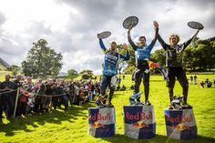 Here are the Red Bull Hardline winners with their bespoke Welsh slate trophies!