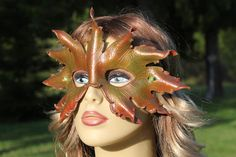 leather AUTUMN LEAF MASK by TBTOBEDESIGNED1 on Etsy