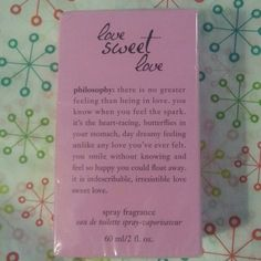 Philosophy Love Sweet Love perfume Brand new and sealed 2 oz  eau de toilette spray Philosophy Other