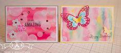 Glückwunschkarte - Stampin' Up! Bokeh Technik mit Schmetterlingsgruß und Petite Petals