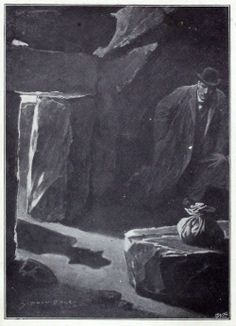 The shadow of sherlock Holmes.  Sydney Paget, frontispiece to The hound of the Baskervilles, by Arthur Conan Doyle, London, 1902