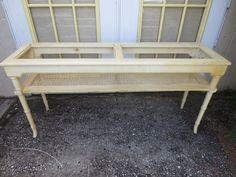 Glam Faux Bamboo Sofa Console Table Hollywood Regency Wicker Coastal  Cottage #Thomasville #HollywoodRegency