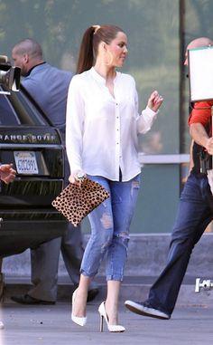 Khloe Kardashian - white shirt; ripped jeans; ponytail; perfect makeup ■