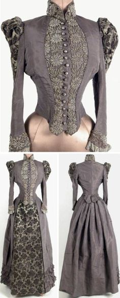 Dress, two pieces, ca. Gray silk taffeta bodice with collar & shoulder insets of flocked green silk. Collar, front, & cuffs have heavy cut steel… 1890s Fashion, Edwardian Fashion, Vintage Fashion, Antique Clothing, Historical Clothing, Vintage Gowns, Vintage Outfits, Silk Taffeta, Taffeta Skirt