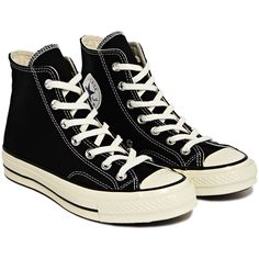 NEW SEASON Converse 1970s Chuck Taylor All Star Hi Sneakers ($110) ❤ liked on Polyvore featuring shoes, sneakers, converse, black, black trainers, kohl shoes, black sneakers, converse sneakers and converse shoes