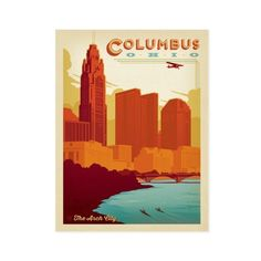Columbus, OH Postcard ($0.88) ❤ liked on Polyvore featuring home, home decor, wall art and post card