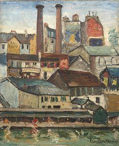 Lucien Genin (1894-1953) - Lavoir et Cheminées d'Usine Huile sur Toile
