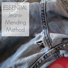 Adventures in Dressmaking: Essential blue jean mending method--Tutorial! blue jean projects, jeans mending, mending jeans, how to mend jeans, essenti blue, dressmak, mend methodtutori, jean mend, blues
