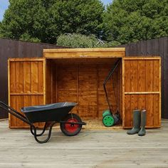 Double Door Mower Storage Shed Lockable Timber Wooden Garden Outdoor Furniture