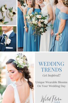 Wedding day flowers: The Barn of Chapel Hill is showing you a trend for wearable wedding florals, everything from wearable bridesmaid's bouquets to florals for your pets. Long gone are the days of boring boutonnieres and basic mothers' corsages, wearable flowers are truly an art form. Head to the blog and view the wedding gallery to be inspired to incorporate beautiful wearable flowers into your wedding day. Wedding Hair Flowers, Flowers In Hair, Floral Wedding, Wedding Bouquets, Wedding Dresses, Wedding Trends, Trendy Wedding, Wedding Styles, Wedding Color Schemes