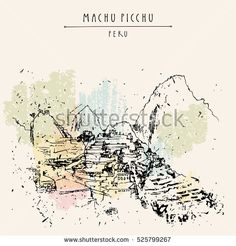 Stunning view of Machu Picchu, Peru. Famous Inca town in the Andes mountains. Vintage artistic hand drawn postcard, poster template, book illustration in vector