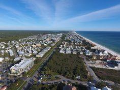 Seacrest Beach aerial view looking east down 30A toward Rosemary Beach, FL.