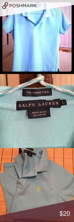 Ralph Lauren PoloL•Skinny FitCotton Candy Blue Great Condition Ralph Lauren Polo Shirt  Cotton Candy Blue with Neon Green Polo Logo  Skinny Fit Large (Will Fit Snug/More Like a Medium)  Additional Colors Available  See Closet Listings for More!! Ralph Lauren Tops Tees - Short Sleeve