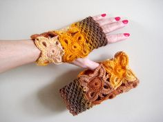 Fingerless gloves, lace mittens Autumn Winter Gloves Elegant ladies mittens, yellow orange brown mittens, Girl beautiful gift, gift for her by BoryanacrochetBG on Etsy