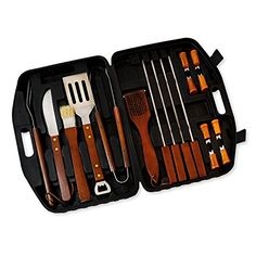 18pcs StainlessSteel Wood Handle Barbecue BBQ Tool Set with Storage Case >>> You can find more details by visiting the image link.
