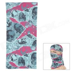 Outto Skull Pattern Outdoor Sports Cycling Quick-drying Headscarf - Purple + Green + Multi-Colored