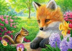 A SPRING CHAT - These two little friends are having a chat among the spring flowers in the garden. Wildlife Paintings, Animal Paintings, Animal Drawings, Cute Drawings, Bird Paintings, Folk Art Flowers, Painting Flowers, Flowers Nature, Painting Art