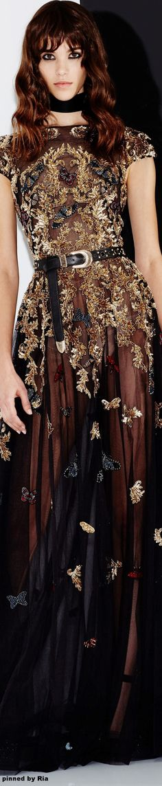 INSPIRATION & TAKE-AWAY: Zuhair Murad Fall 2016 RTW. The take-away is, a milk-chocolate brown with black, and a lace overlay. Adapt the look by doing a warm-brown lace cami with a black leather jacket and black jean.