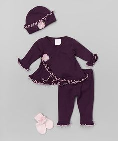 Love this Plum & Pink Sparkle Flower Take-Home Wrap Top Set - Infant on #zulily! #zulilyfinds