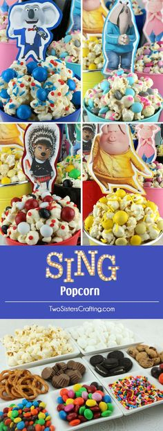 Sing Popcorn - fun and delicious. This is a sweet and salty popcorn mixed with colorful candy mix-ins. It is both yummy and adorable, a great combination! A fun anytime snack that would also be a great Party food at a Sing Birthday Party or a special treat for a Sing Family Movie Night. Pin this easy to make dessert for later and follow us for more great Popcorn Recipe Ideas.  @parentandchild
