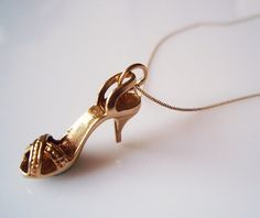 Stiletto Shoe Vintage 9ct Gold Charm Necklace by TrueVintageCharms, £79.00