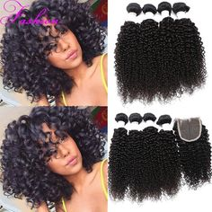 4 Bundles With Closure Peruvian Virgin Hair With Closure Curly Hair With Closure Human Hair Bundles Lace Closure Sew In Weave