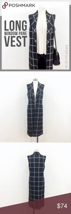 """HALOGEN •NWT windowpane long open vest charcoal • brand new long dark grey vest with windowpane print • has collar and open front (no closure) • 4 decorative buttons in the front  • 2 front welt pockets • single back vent • fully lined • comes with extra button too  67% polyester 32% rayon 1% spandex Dry clean only  Back (shoulder to shoulder) = 15"""" Bust = 37"""" (but can accommodate larger since it is an open cut) Length = 42"""" (top of shoulder to hem)   @mikimakes • Feel free to ask any…"""