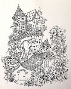 Fairy Houses Abstract Doodle Zentangle Paisley Coloring Pages Colouring Adult Detailed Advanced Printable Kleuren Voor Volwassenen