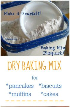 Homemade Dry Baking Mix (DIY Bisquick) is less expensive and better for you! Make homemade biscuits, pancakes, muffins, cakes, and more! Bisquick Mix Homemade, Bisquick Mix Recipe, Homemade Dry Mixes, Bisquick Recipes, Homemade Spices, Homemade Seasonings, Homemade Biscuits, Recipe Mix, Baking Mix Recipe