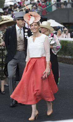 The Countess of Wessex wore a stunning coral skirt on day three of Ascot…